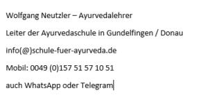 Wolfgang Neutzler, Ayurvedacoach